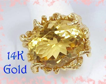 14K Gold - 22 Ct Citrine - Wire Gold Nugget Custom Large Ring - 16 + Grams - Antique Estate Cocktail OOAK - Collectors Ring - FREE Shipping
