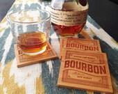 BOURBON Wood Coasters - Laser Engraved