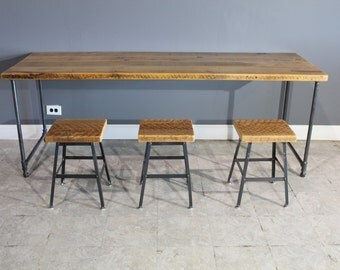Salvaged Wood Table Including 3 Barstools - Industrial Gas Pipe for Base of Table - Endurovar Finish - FAST Shipping