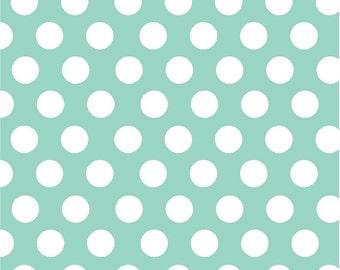 Mint with white polka dots craft  vinyl sheet - HTV or Adhesive Vinyl -  large white polka dot pattern HTV700