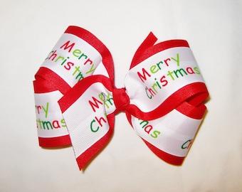 Christmas Layered Boutique Bow - Medium Size