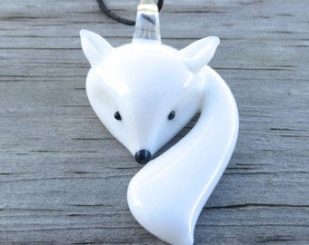 Arctic Fox Glass Pendant Necklace by The Wild Willows