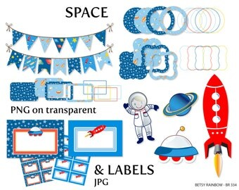 Space clipart pack, digital labels, bunting clipart, digital frames, space, astronaut, rocket, galaxy - BR 334