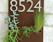 """12"""" x 16"""" Mid-Century Succulent Wall Planter & Address Plaque - Vertical Rust Planter w/ (4) Brushed Aluminum House Numbers (Free Shipping)"""