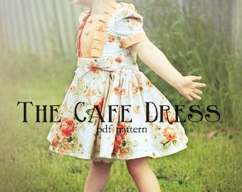 Cafe Dress PDF Pattern 12m - girls 6