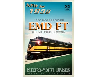 EMD FT Diesel Electric New Original Railroad Train Poster -available in 4 sizes- Retro 1939 Electro-Motive Locomotive Art Print 162