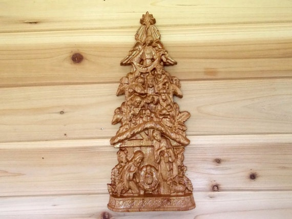 Wood nativity ornament christmas tree decoration