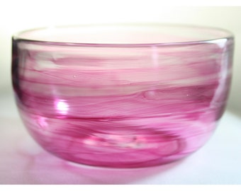 Wine-Red Glass Bowl, Medium Straight Bowl, Hand Blown Glass Bowl, Transparent Wine-Red Bowl, Red Bowl - Free Shipping