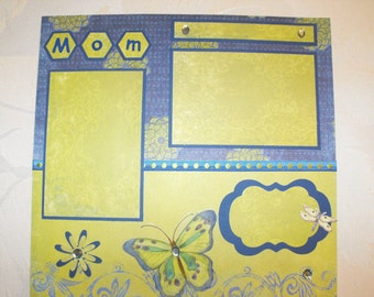 "Premade single scrapbook page for your Mother titled ""Mom"" 12x12 with lots of bling and butterflies"