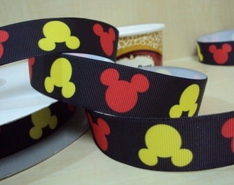 5 YDS Red and Yellow Mickey Heads Ribbon