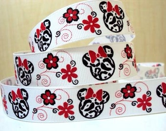 5 YDS Minnie with Flowers Ribbon