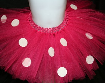 Minnie Mouse Tutu, Pink Minnie Mouse Inspired Tutu Skirt, Pink Minnie Tutu Skirt, Pink Polka Dot Children's Tutu, Hot Pink Minnie Mouse Tutu