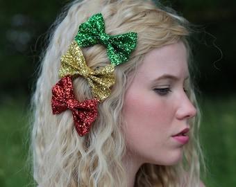 Glitter hair bows, glitter bow, glitter hair accessory, green glitter bow, red bow, gold bow, gold glitter bow, red glitter hair bow,