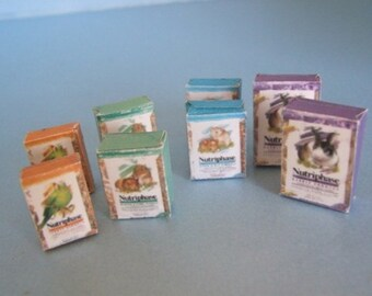 Pet Food Packets ~ ( 8pk )  Shop Pack ~ 12th Dolls House Miniature