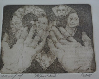 """Artists Proof signed """"Helping Hands""""  framed-Lithograph"""