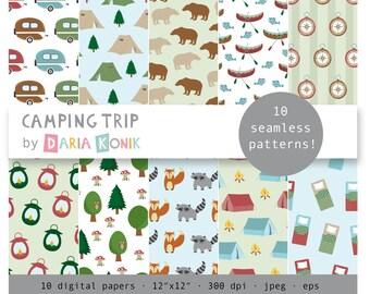 "Camping Trip Digital Paper Pack-tents, caravans, canoes, bears, foxes, racoons, trees, eps, jpeg, 12"" x 12"", instant download"