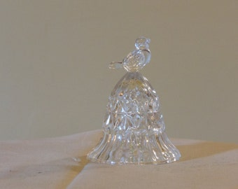 Crystal Cut Clear Glass Bell with Small Singing Bird Finial