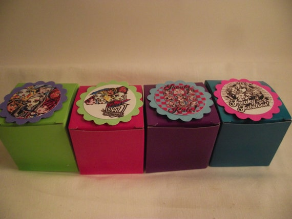 12 Monster High Birthday Party Favor Boxes - Perfect for candy and bottlecap necklaces - You choose the theme