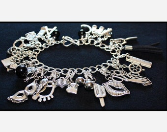 Black Fifty Shades of Grey Charms Bracelet