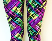 Soul Trend Womens Leggings/Tights/Printed Nylon Spandex Stretch Fabric/Green Lime Purple Black Pink Ritzy Size 8, 10, 12, 14, 16  New