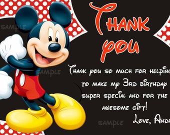 Mickey mouse thank you card, Mickey mouse custome order - Digital file