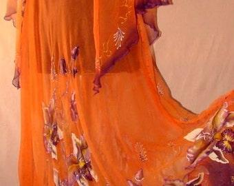 Dress.Natural silk dress - handmade artwork ,silk painting, 100% natural silk handwork,orange floral dress, orchid