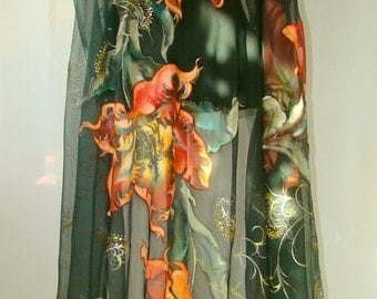 Hand painted natural silk fabric, silk painting, dark green, red tulip