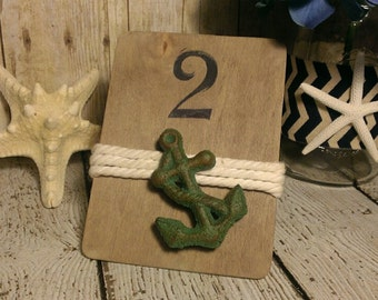 Anchor Table Numbers, Beach Wedding Table Number, Nautical Wedding Table Number