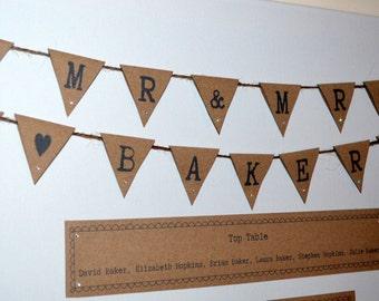 personalised wedding table plans - rustic bunting