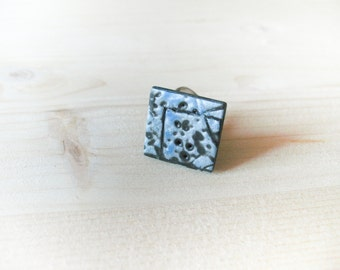 Black, Turquoise and silver polymer clay ring