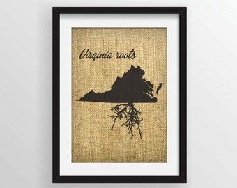 Virginia Roots on Actual Burlap Fabric