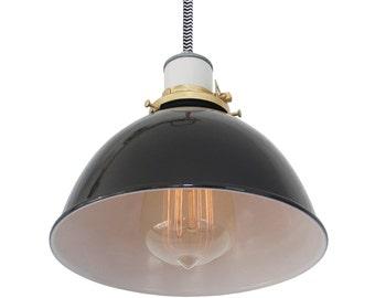 BLACK ENAMEL LAMP w/ ceramic socket