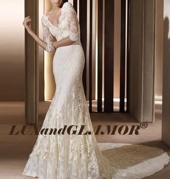 French Lace Mermaid Wedding Dress: Wedding DressIvory French Lace Mermaid Sleeves By LUXandGLAMOR