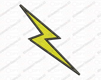 Lightning Bolt Embroidery Design in 1x1 2x2 3x3 4x4 and 5x7 Sizes