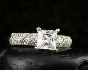 Paige - Moissanite and Diamond Engagement Ring in 18k White Gold, Princess Cut Solitaire with Diamond Accents and Filigree, Free Shipping