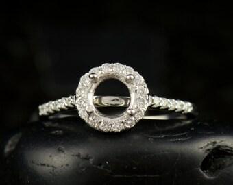 Penelope - Diamond Halo Engagement Ring Semi-Mount for 5.5mm Round Center, Fit-Flush Design, Free Shipping