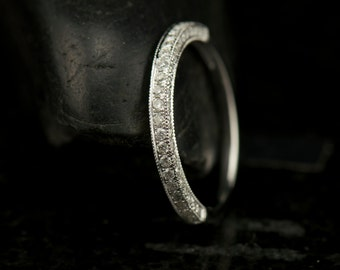Three Sided Pave Wedding Band, 1/2 Eternity Band with Milgrain Edges with Vintage Flare, Petite Anna