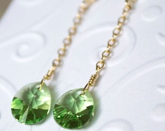 Swarovski peridot/light green drop/dangle earrings with gold filled ear posts and components
