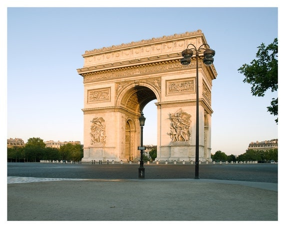 Fine art photography, Paris Photograph, Arc de Triomphe, Brown, Blue Sky, 5x7 8x10, Paris, French, Giclée print, Wall Art