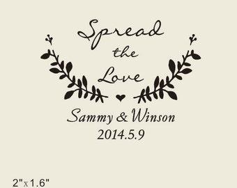 custom  Stamp-  Custom rubber Stamp -Spread the love custom rubber stamp for personalized flower seed wedding favors
