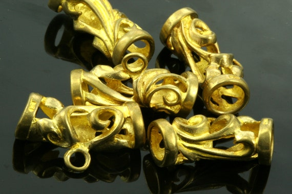 1 pc  24 mm (hole 6,7 x 6 mm ) raw brass tube fligree brass Charms,holder Pendant,Findings spacer bead