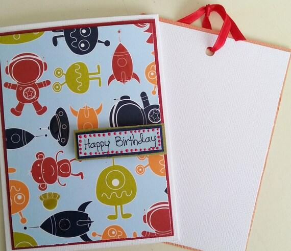 Kids Birthday Card. Handmade Card! Alien, Outer Space theme. Ideal for Birthdays. Happy Birthday.