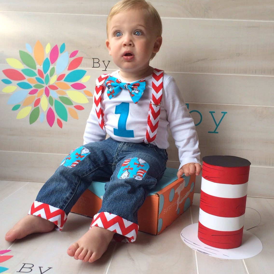Birthday Party Outfit: Entire Dr. Seuss Baby Boy 1st Birthday Shirt & Knee Patch Jean