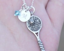 Tennis Necklace, Tennis Jewelry, Personalized Tennis Player Necklace, Tennis Racket Necklace, Tennis Racquet Necklace, Girls Tennis, CDCB