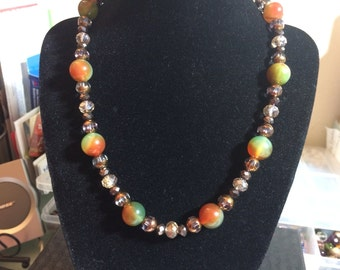 Colorful rainbow agate and glass necklace