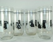 4 Cat Drinking Glasses Black and White Glasses
