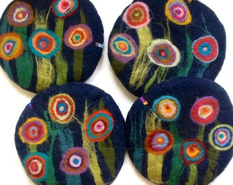 Handfelted Seat Cushion with big flowers, dark blue