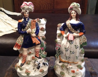 Antique 19thC Staffordshire English Porcelain Scottish Figurines
