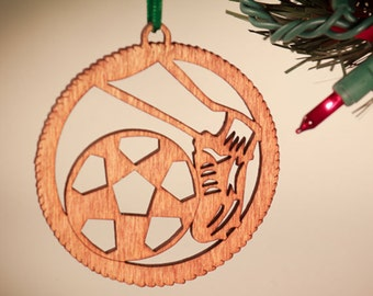 Soccer Christmas ornament I love soccer Laser Cut Personalized Ornament