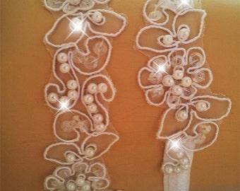 Wedding garter set, Bridal garter set,  Rhinestone garter, wedding garters, Bridal garter,  lace garter,  Vintage Garter